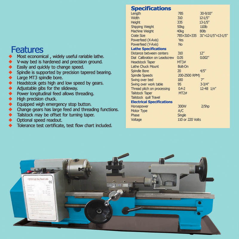 Variable Speed Mini Bench Lathe BL-9318   hfcraftmachinery